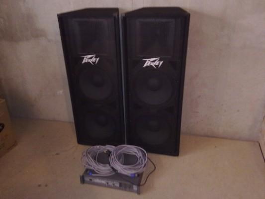 Equipo de sonido (2 x Peavey PV 215 y etapa Work EP600)