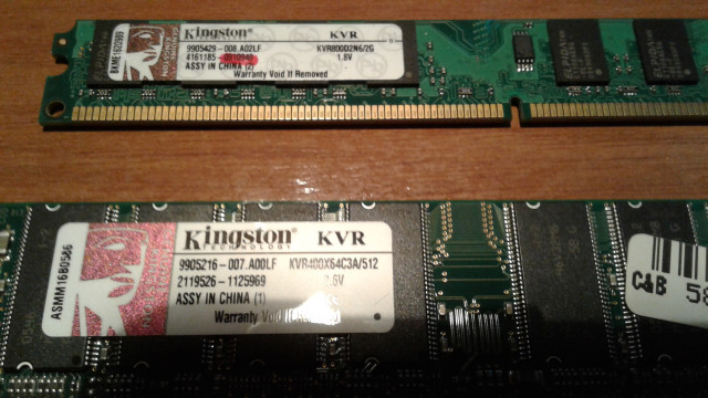 2 módulos de memoria ram